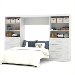 Bestar Pur 131 Full Wall Bed With 2 Piece 6-drawer Storage Unit In White
