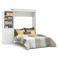 Bestar Versatile 92and039and039 Queen Wall Bed With Door Storage Unit In White