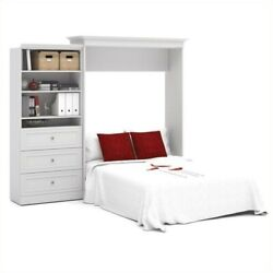 Bestar Versatile 101and039and039 Queen Wall Bed With 3-drawer Storage Unit White