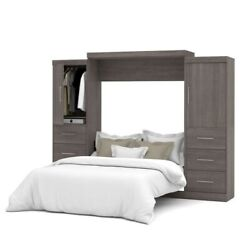 Bestar Nebula 115 Queen Wall Bed Kit With 6 Drawer Set In Bark Grey
