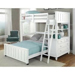 Ne Kids Lake House Twin Loft With Full Lower Bed And Shelf In White