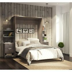 Bestar Cielo Elite 104 Queen Wall Bed Kit In Bark Gray And White