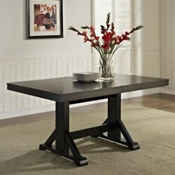 Extendable Trestle Wood Dining Table In Antique Black