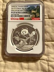 2017 S Singapore Intand039l Coin Fair Silver Panda Proof-69 Ultra Cameo -500 Minted