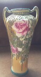 Nippon Ornate Vase Moriage Over Hand-painted Roses Flowers 2 Handled Old Mark
