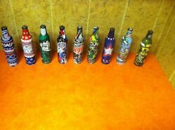Lot Of 9 Sealed Rare Mountain Dew Green Label Art Full Bottles Collectors Htf