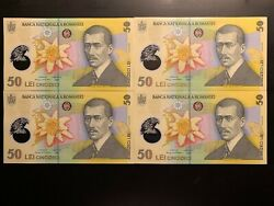 Romania 4 X 50 Lei 2018 Polymer Banknote Unc New Coat Of Arms Consec. Series