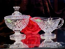 Last Set Shannon Crystal Glass Footed Oval Sugar And Creamer Set Gorgeous New