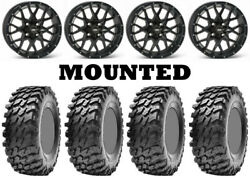 Kit 4 Maxxis Rampage Tires 32x10-15 On Itp Hurricane Matte Black Wheels Irs