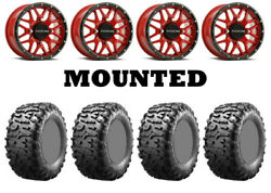 Kit 4 Maxxis Bighorn 3.0 Tires 29x9-14 On Raceline Krank Red Wheels Can