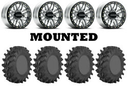 Kit 4 Sti Outback Max Tires 28x10-14 On Raceline Ryno Beadlock Machined Can