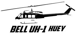 Bell Uh-1 Huey Helicopter Airplane Outline Sticker Decal Wall Graphic