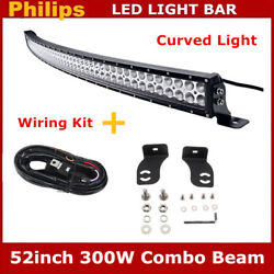Curved 52inch 300w Led Light Bar Combo Driving Offroad Suv Boat Slim+wiring Kit