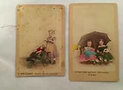 2 Antique German Cdv Photograph Young Girls With Porcelain Dolls Children Toy