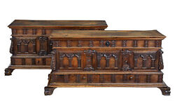 PAIR OF 18TH CENTURY AND LATER CARVED WALNUT SPANISH CASSONES