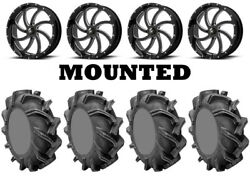 Kit 4 High Lifter Outlaw 3 Tires 38x9-22 on MSA M36 Switch Black Wheels TER
