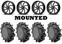 Kit 4 High Lifter Outlaw 3 Tires 38x9-22 on MSA M36 Switch Black Wheels FXT