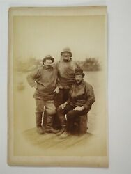 3 Fishermen On Pier - Souand039westers And Camera Case C1880s Photo