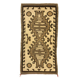 C. 1910 Navajo Crystal Rug With Feather Pictorials 73.5 X 37