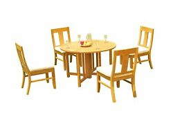 5pc Grade-a Teak Dining Set 48 Round Butterfly Table 4 Osborne Armless Chairs