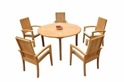 6pc Grade-a Teak Dining Set 52 Round Table 5 Goa Stackng Arm Chairs Outdoor