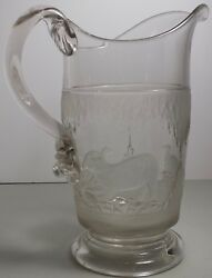 Antique Eapg Polar Bear Crystal And Frosted Glass Water Pitcher W/ Applied Handle