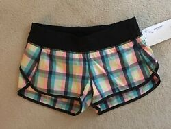 Lululemon Speed Short Plaid Wee Wheezy Check Bleached Coral Cadet Blue 4 8