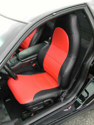 CHEVY CORVETTE C5 1997 2004 BLACK RED S.LEATHER CUSTOM MADE FRONT SEAT COVERS $149.00
