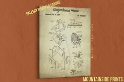 1984 Gingerbread House Canvas Patent Print - Christmas Gift - Holiday Decor