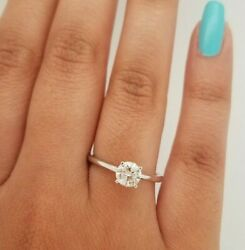 0.66 Ct Si Real Diamond Solitaire Ring 14k Solid White Gold Ring Size 6.25