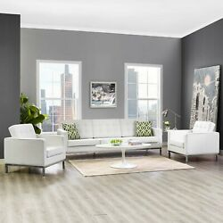 Modway Loft 3 Piece Leather Sofa And Armchair Set In Cream White