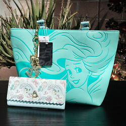 Loungefly Disney Ariel The Little Mermaid Aqua Tote amp; Under the Sea Wallet Set $900.00