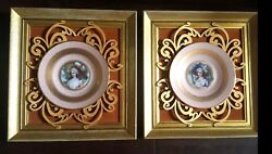 Pair Of Antique Ormolu Gilt Victorian Hand Painted Portrait Plates With Frames