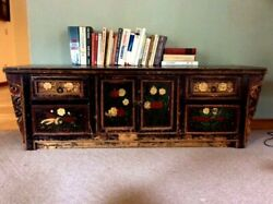 Reduced Price Antique Black Chinese Low Cabinet 19th Century Hand Painted