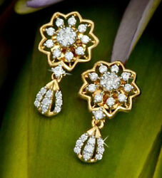 2.54ct Natural Round Diamond 14k Solid Yellow Gold Screw Back Dangler Earring