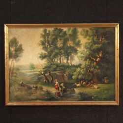 Painting Country Landscape Framework Oil On Canvas Antique Style Frame Art 900