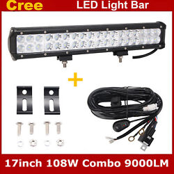 17 Inch 108w Led Light Bar Combo Spot Flood For Jeep Lamp Offroad + Wiring Kit