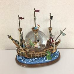 Peter Pan Captain Hook Pirate Ship Snow Globe With A Music Box Disney F/s