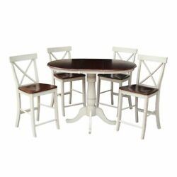 36 Round Extension Dining Table 34.9h With 4 X-back Counter Height Stools