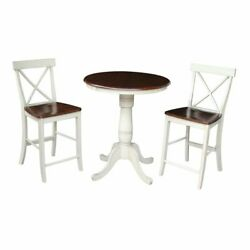 30 Round Pedestal Gathering Height Table With 2 X-back Counter Height Stools