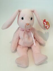 Rare With Flaws - 1996 Ty Beanie Baby Hoppity Pink Rabbit With Tags