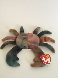 Rare With Flaws - 1996 Ty Beanie Baby Claude The Crab With Tags