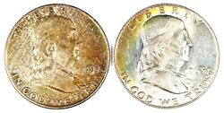 1949 And 1963-d Rainbow Toned Franklin Silver Half Dollars 50c
