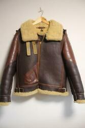Eastman Mouton Sheep Leather Mccoy Flight Jacket Mens S 38 Brown F/s From Japan