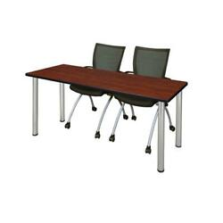 66 X 24 Training Table- Cherry/ Chrome And 2 Chairs- Black