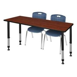 Kee 72in. X 24in. Adjustable Student Table-grey And 2 Andy 12-in Chairs-blue