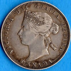 Canada 1870 25 Cents Twenty Five Cent Silver Coin - Trends $150 - Very Fine