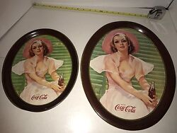 Canada Pink Lady Coca Cola 2 Trays One Large 17 Inch And Rarer Smaller One