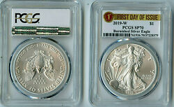 2019 W Ase Pcgs Sp70 Burnished Silver Eagle Dollar Fdoi First Day Issue C36