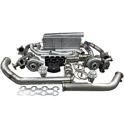Twin Turbo Intercooler Kit For 79-93 Ford Foxbody Mustang 5.0l Dual T04e 700 Hp